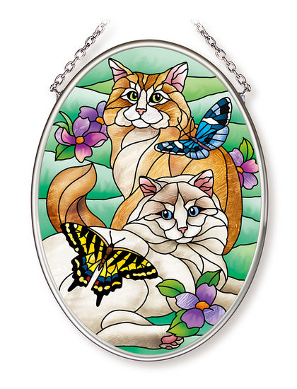 Stained Glass Suncatcher - Small Oval - Cats and Butterflies - 4.25in X 3.25in