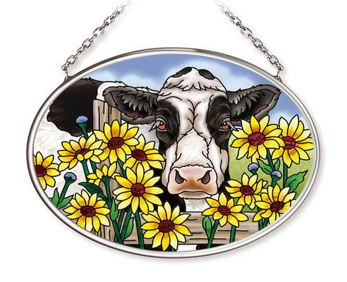 Stained Glass Suncatcher - Small Oval - Cow with Daisies - 3.25in X 4.25in