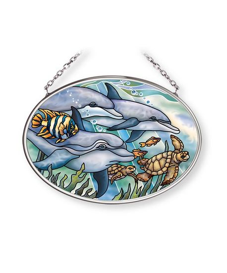 Stained Glass Suncatcher - Small Oval - Dolphins and Sea Turtles - 3.25in X 4.25in