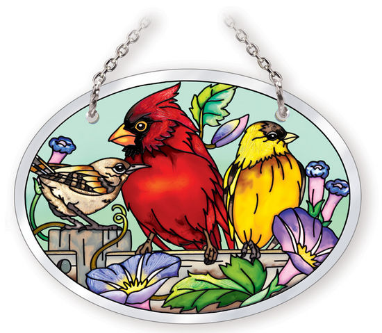 Stained Glass Suncatcher - Small Oval - Garden Birds on Fence - 3.25in X 4.25in