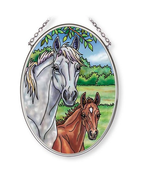 Stained Glass Suncatcher - Small Oval - Horses - 4.25in X 3.25in