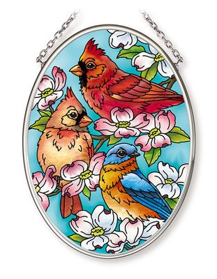 Stained Glass Suncatcher - Small Oval - Song Birds on Tree - 4.25in X 3.25in