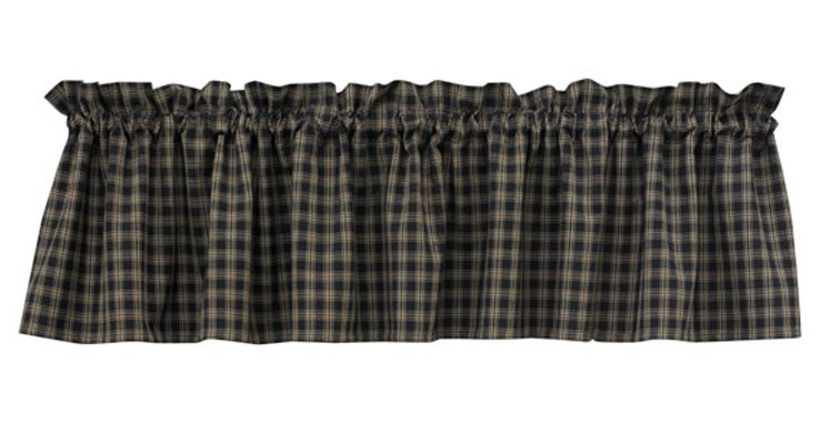 Unlined Window Valance - Sturbridge Black - 72in x 14in