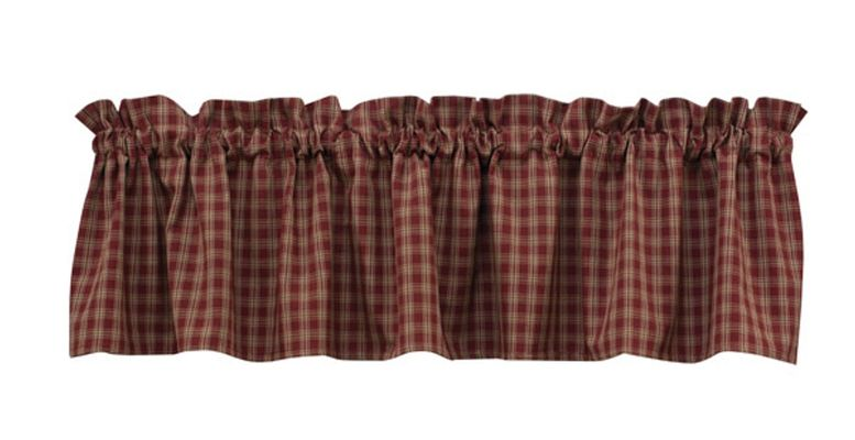 Unlined Window Valance - Sturbridge Wine - 72in x 14in