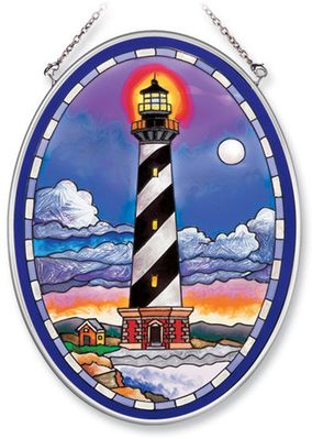 Stained Glass Suncatcher - Medium Oval - Cape Hatteras Lighthouse - 5.5in X 7in
