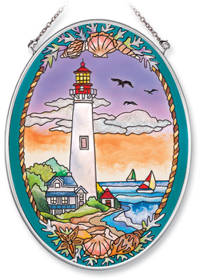 Stained Glass Suncatcher - Medium Oval - Cape May Lighthouse - 5.5in X 7in