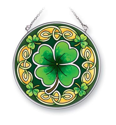 Stained Glass Suncatcher - Medium Circle - Celtic Leaves - 4.5 in