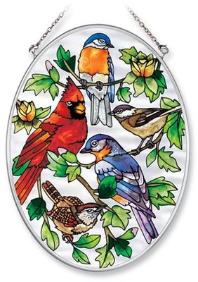 Stained Glass Suncatcher - Medium Oval - Song Birds in Tree - 5.5in X 7in