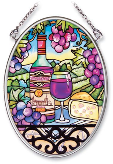 Stained Glass Suncatcher - Small Oval - Tuscan Wine and Grapes - 4.25in X 3.25in