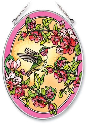 Stained Glass Suncatcher - Medium Oval - Hummingbird - 5.5in X 7in