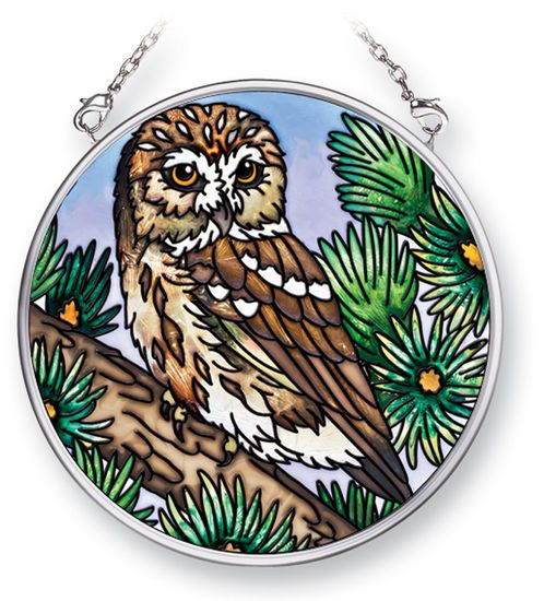 Stained Glass Suncatcher - Small Circle - Owl in Pine Tree - 3.5 in
