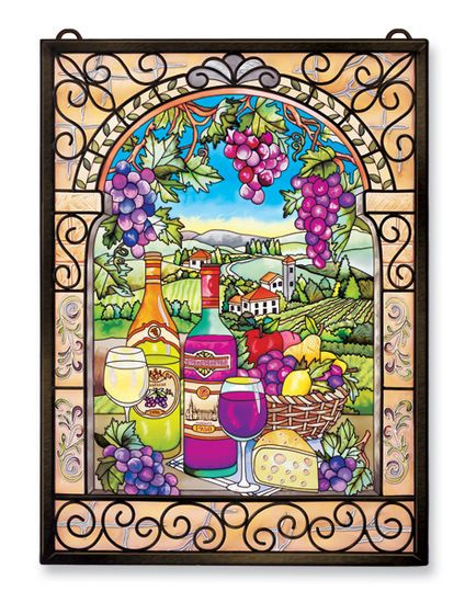 Stained Glass Suncatcher - Panel - Tuscan Wine and Grapes - 11in X 15.5in