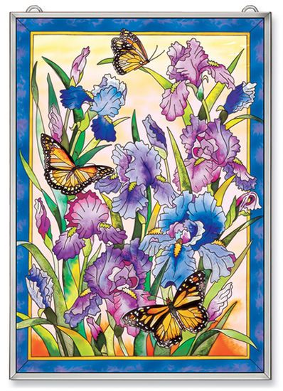 Stained Glass Suncatcher - Panel - Iris and Butterflies - 11in X 15.5in