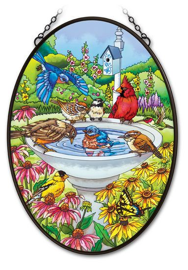 Stained Glass Suncatcher - Oval Panel - Garden Birds in Bird Bath - 12.5in X 17.5in