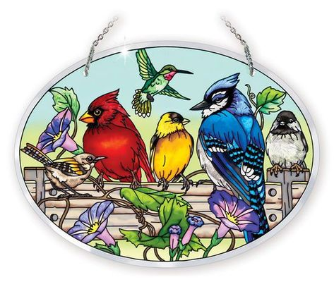 Stained Glass Suncatcher - Large Oval - Garden Birds on Fence - 9in X 6.5in