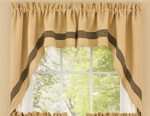Unlined Window Swag - Burlap & Check - 72in x 36in
