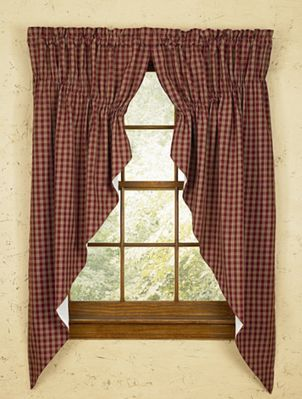 Lined Gathered Swag - Sturbridge Wine - 72in x 63in
