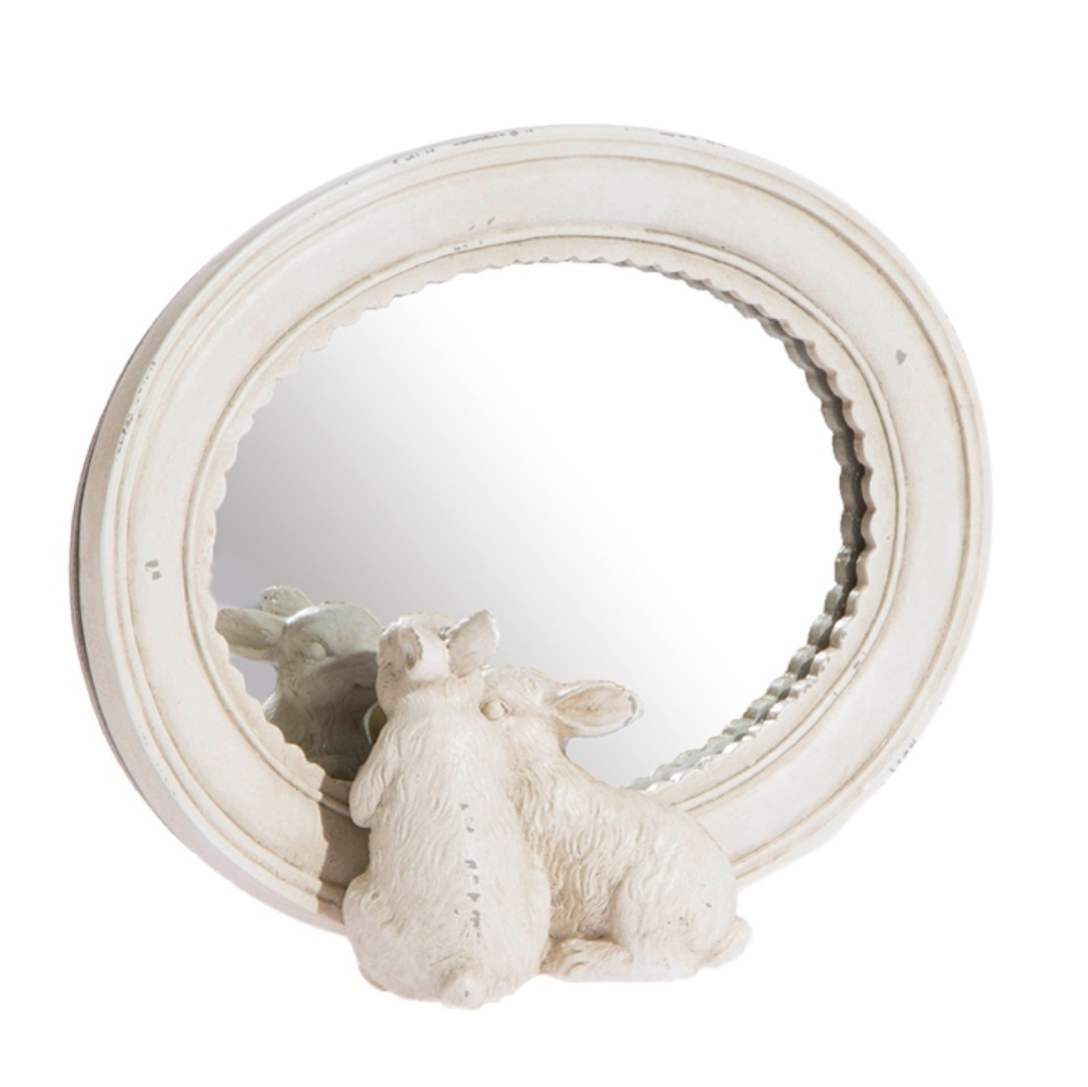 Table Mirror - Cream - Rabbits - 8.5in
