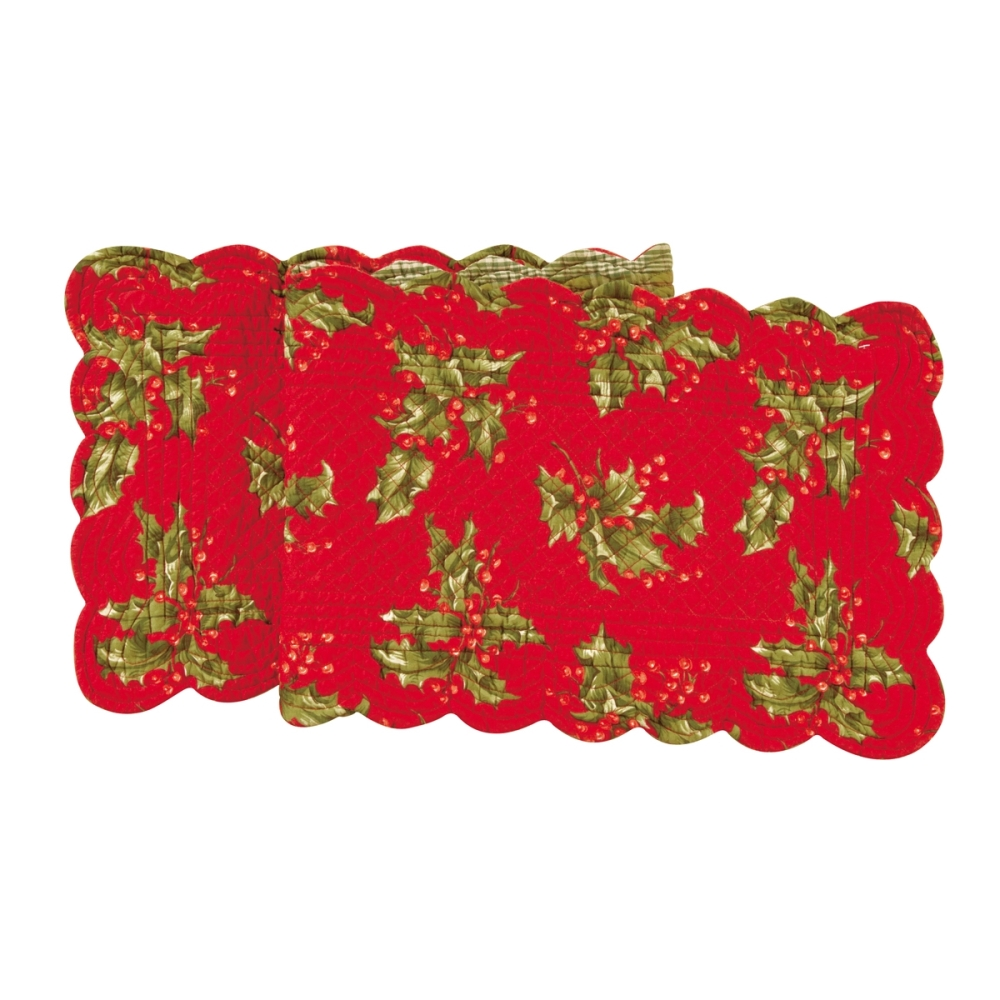 Rectangular Table Runner - Red Holly - Quilted/Reversible - 51in x 14in