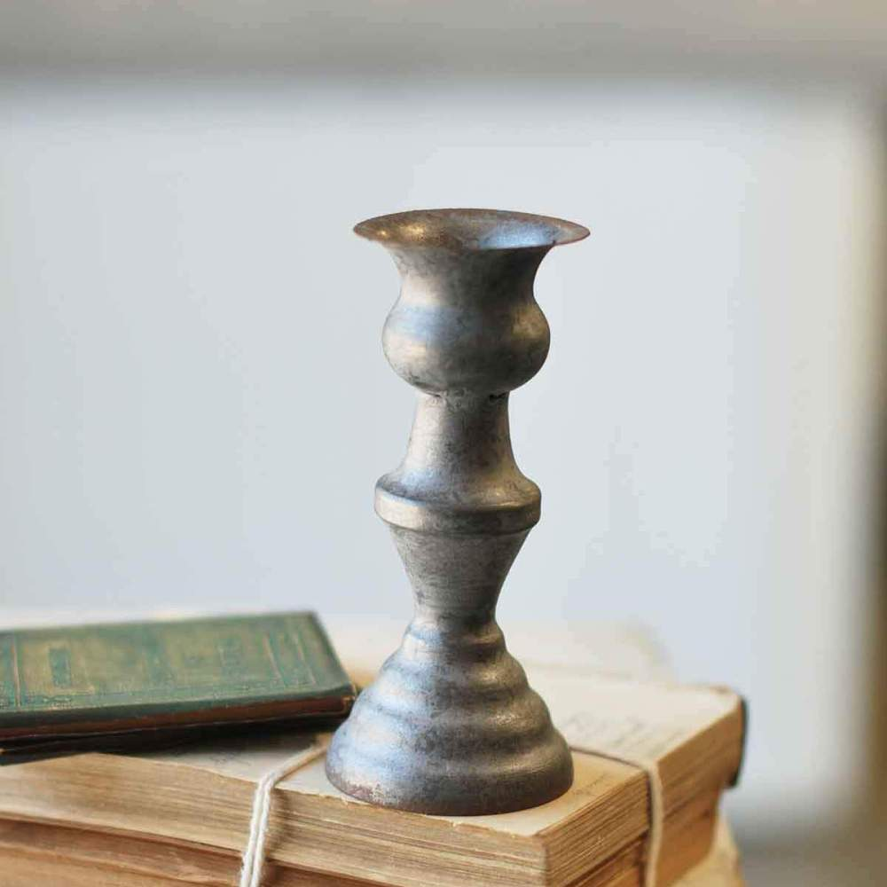 Taper Candle Holder - Pewter Look - 5.5 Inch