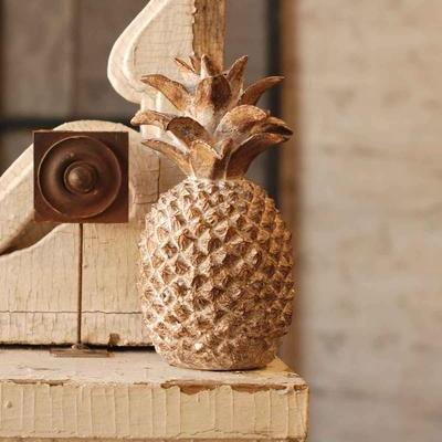 Taper Candle Holder - White Washed Bronze Pineapple - 10 Inch