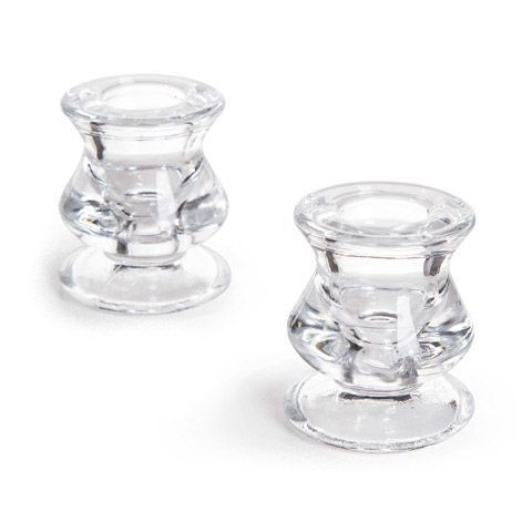 Taper Candle Holders - Glass Taper Candle Holders - Set of 2