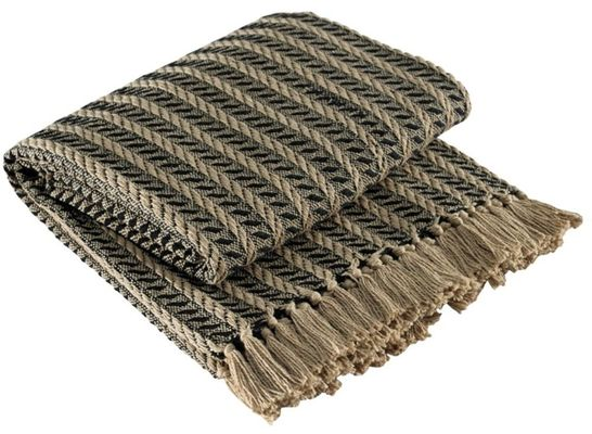 Cable Throw Blanket- Black & Tan - 50in x 60in