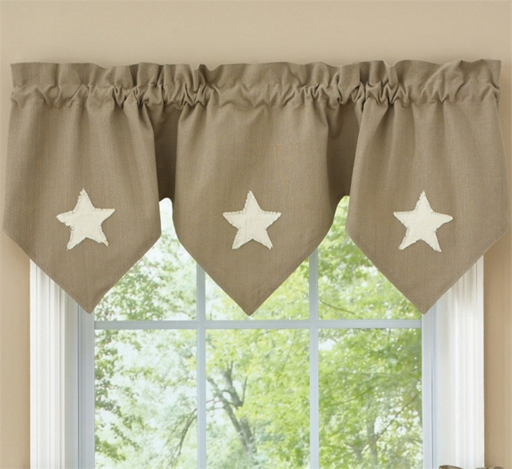 Triple Point Lined Valance - Taupe & Star - 60in x 20in