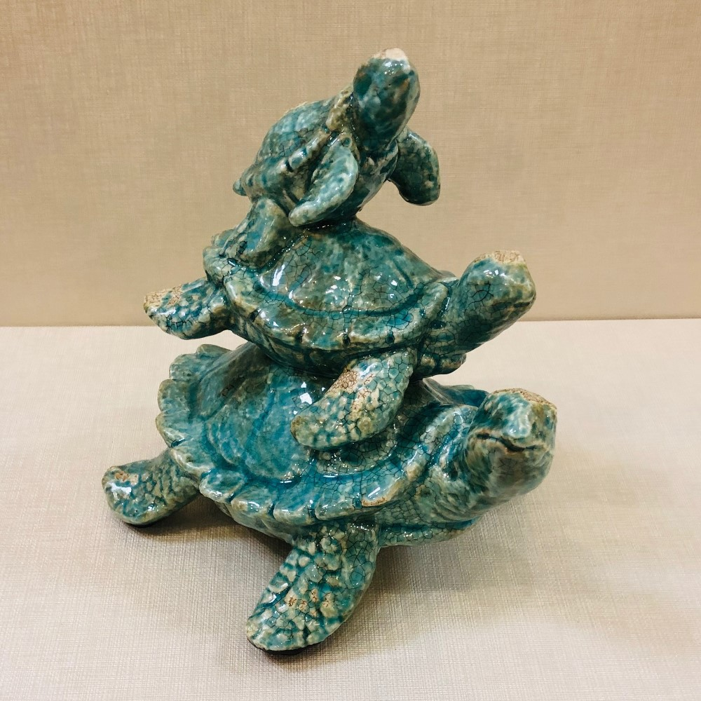 Turtle Garden Statue - Turtle Family - Turquoise - 8.5in