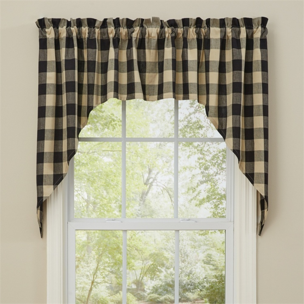 Unlined Window Swag - Wicklow Black - 72in x 36in