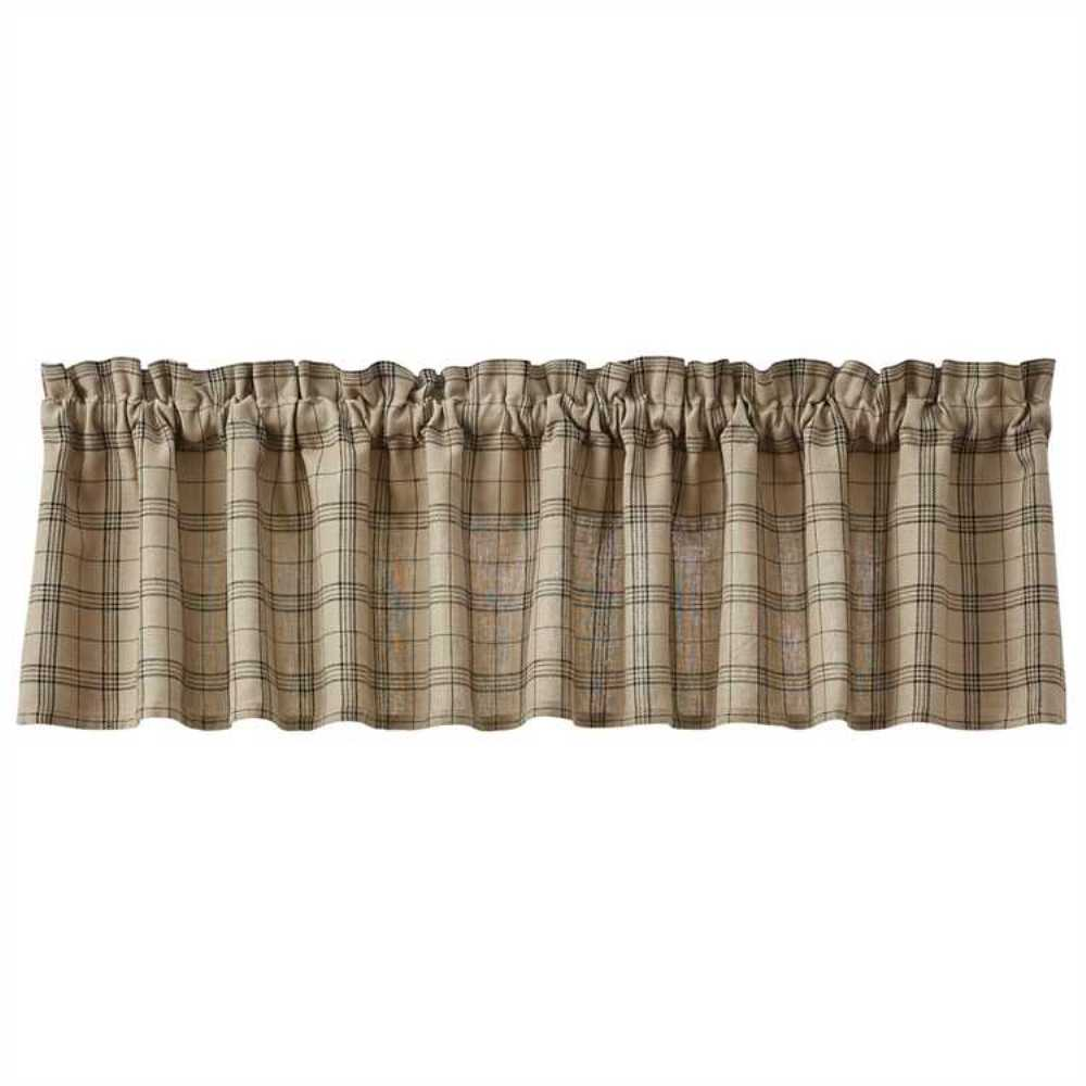 Unlined Window Valance - Fieldstone Plaid Black - 72in x 14in