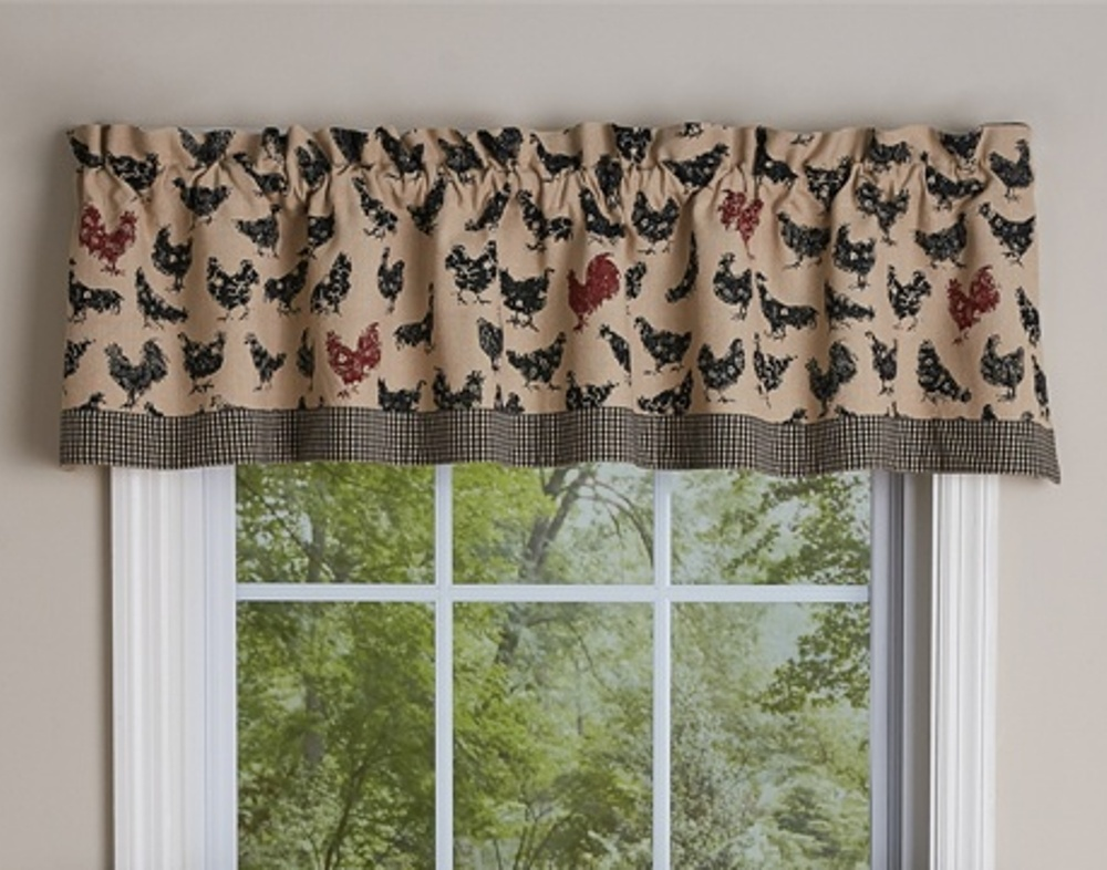 Unlined Window Valance - Hen Pecked Hens - 60in x 14in