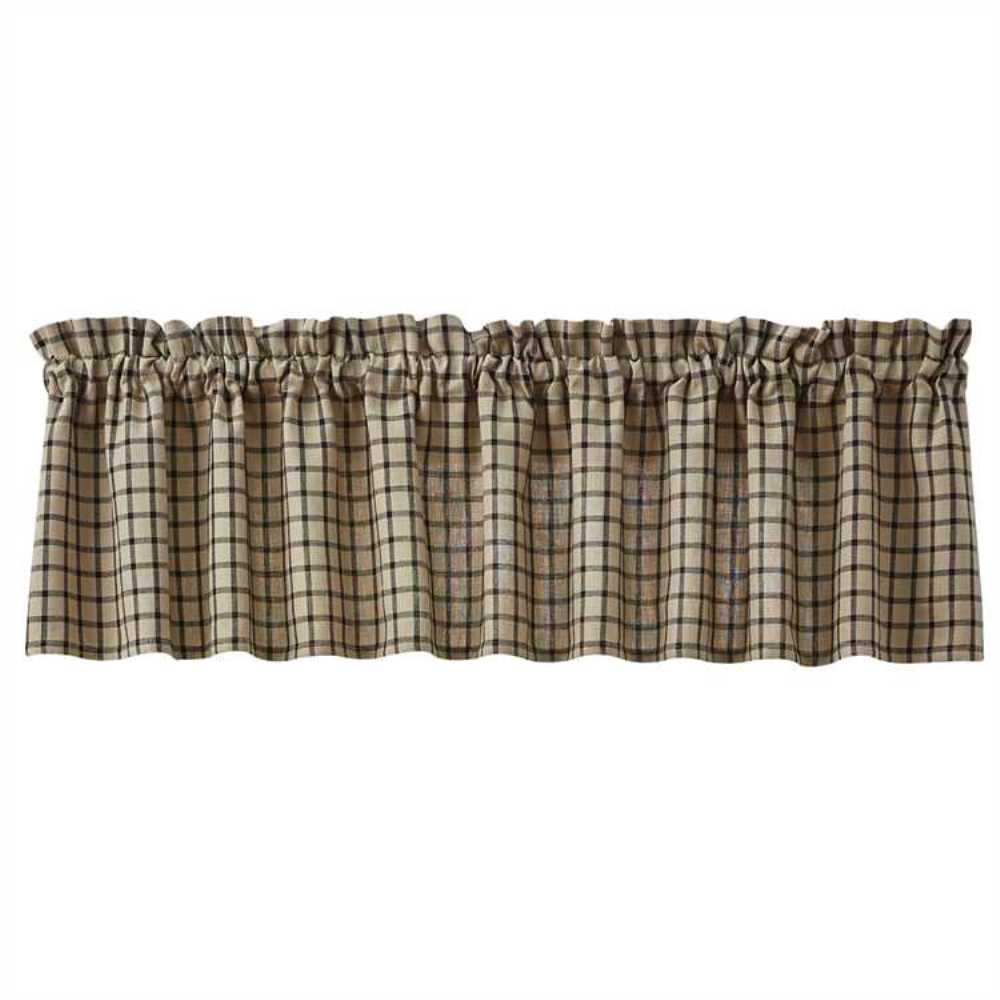 Unlined Window Valance - Stoneboro Check Black - 72in x 14in