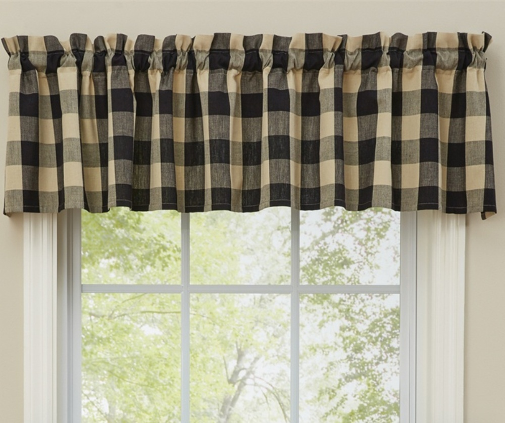 Unlined Window Valance - Wicklow Black - 72in x 14in