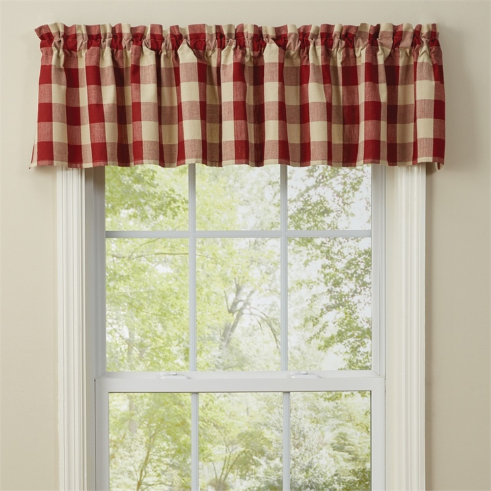 Unlined Window Valance - Wicklow Garnet - 72in x 14in