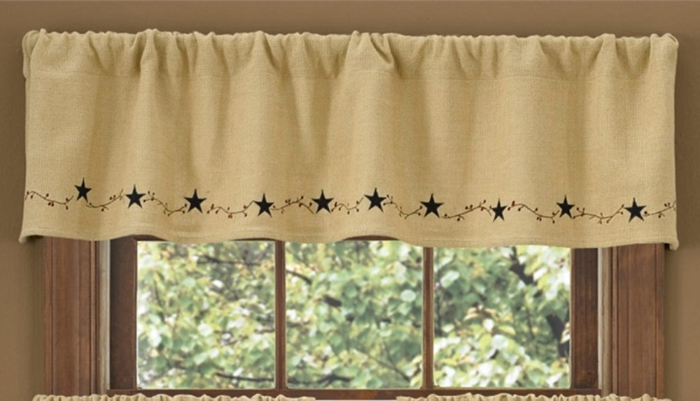 Lined Window Valance - Burlap Star - 60in x 14in