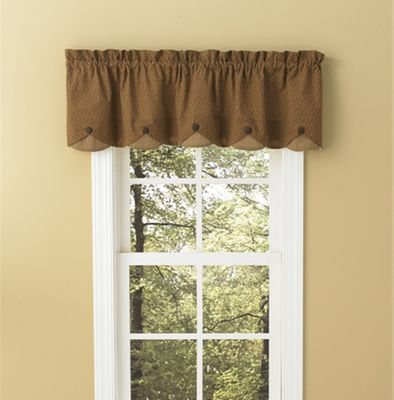 Lined Scallop Valance - Shades of Brown - 58in x 15in