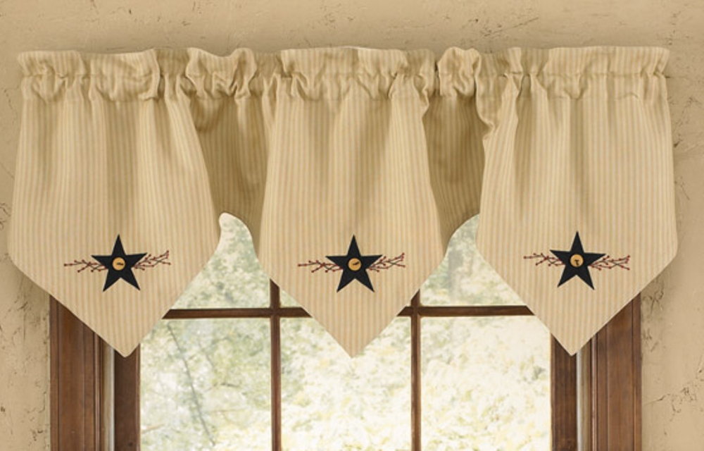 Lined Triple Point Valance - Star Vine - 60in x 20in
