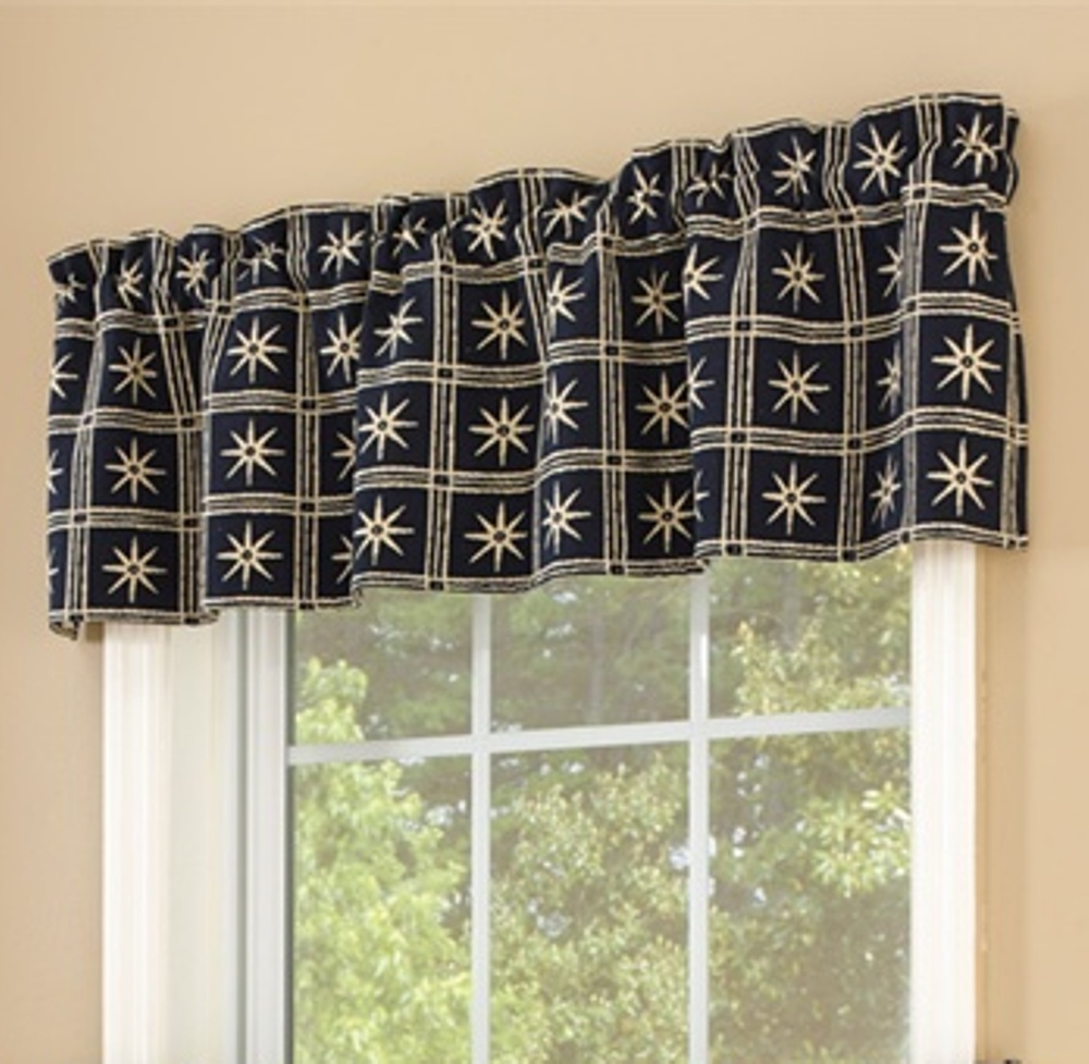 Lined Window Valance - Windsor Star Indigo - 60in x 14in