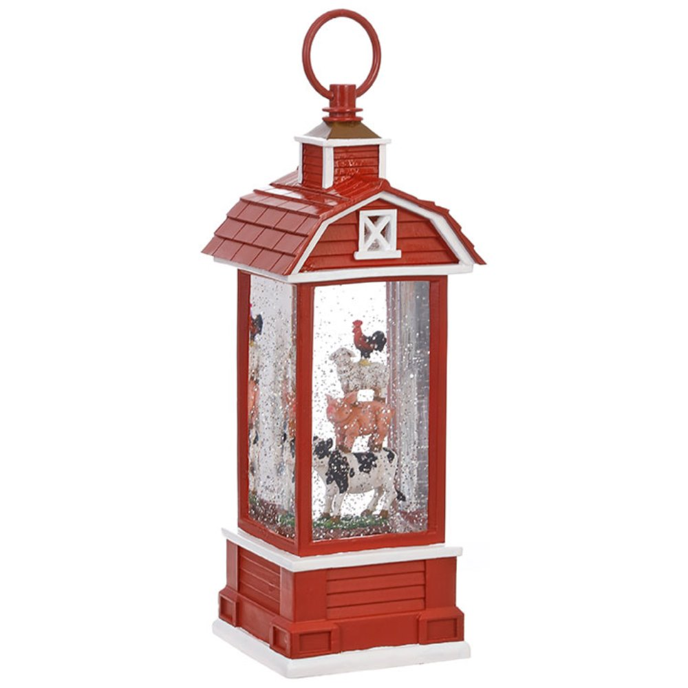 Water Lantern - Barn with Farm Animals - Battery Operated - 11.5in