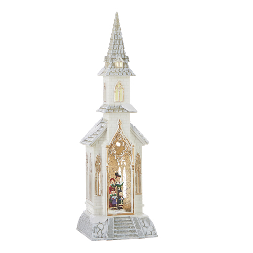 Water Lantern - Church with Carolers - Battery Operated - 18.5in