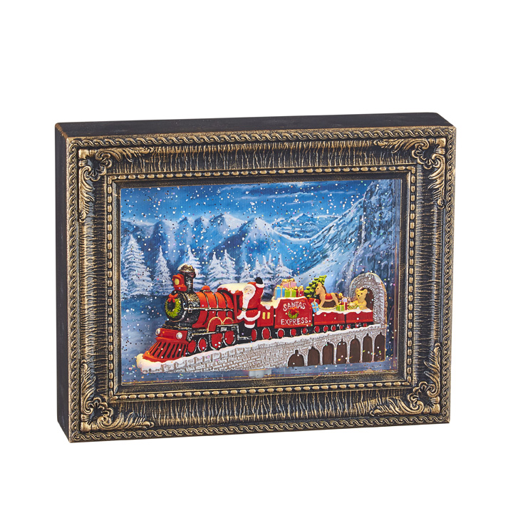 Water Lantern - Frame with Santa Express - Battery Operated - 10in