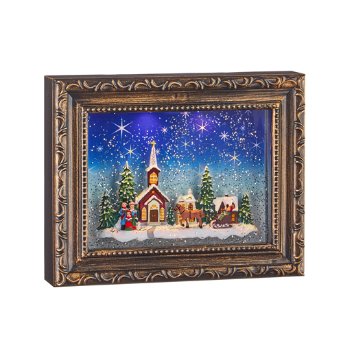 Water Lantern - Frame with Town Scene - Battery Operated - 9.75in