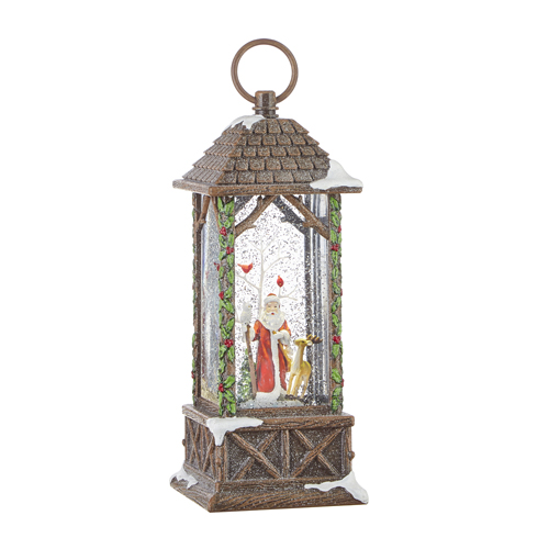 Water Lantern - Santa with Deer and Cardinals - Battery Operated - 10.75in