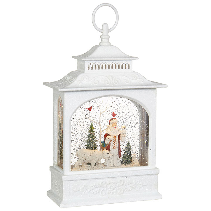 Water Lantern - Santa with Polar Bear - Battery Operated - 11in