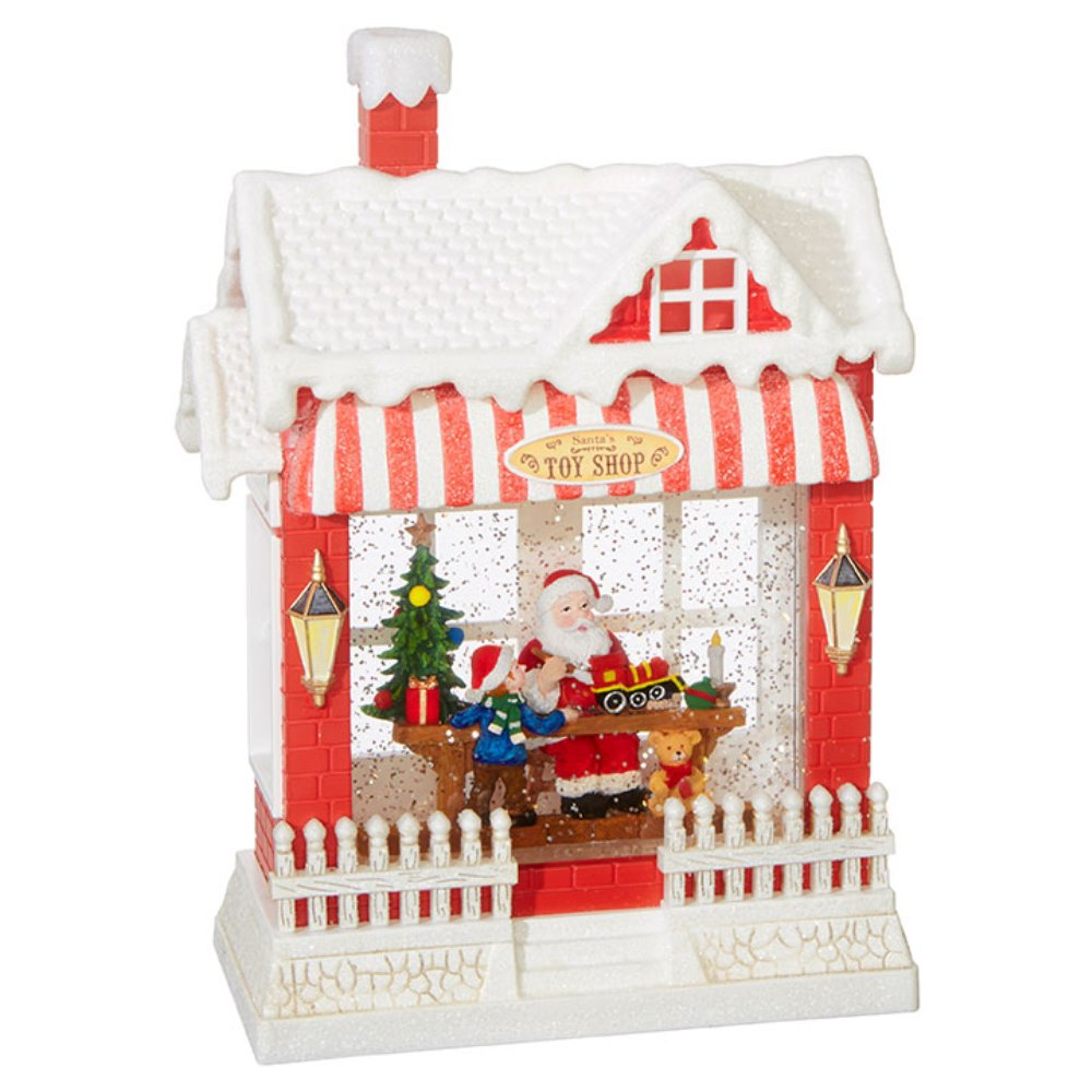Water Lantern - Santa with Toy Shop - Battery Operated - 10in