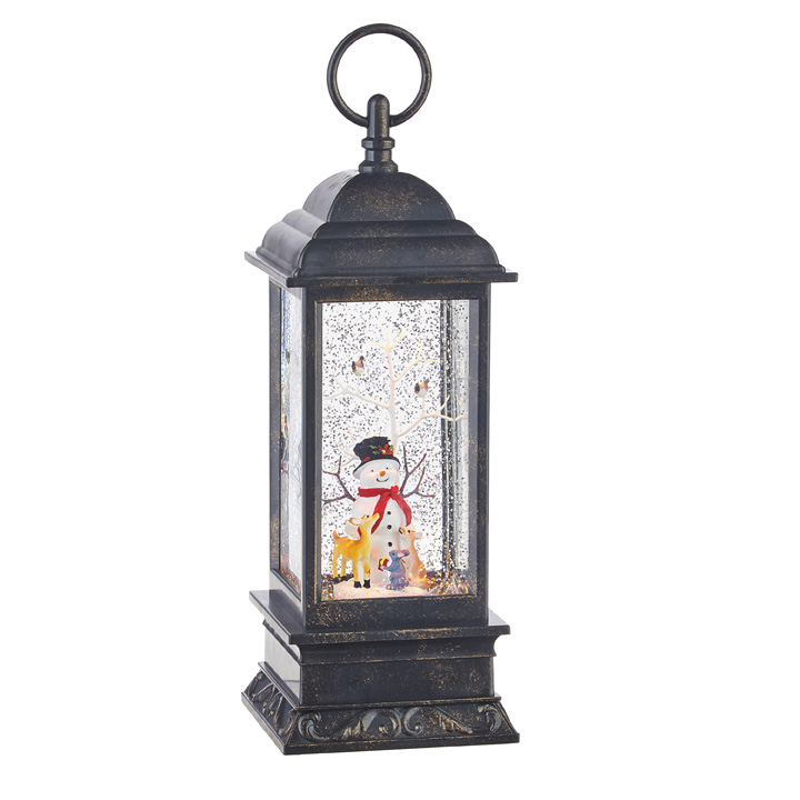 Water Lantern - Snowman with Animals - Battery Operated - 11in