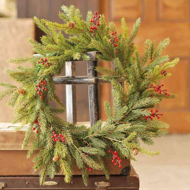 White Spruce Wreath - Red Berries - 21in