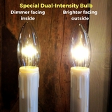 "Window Candle - ""Battery Operated Dual-Intensity Chamberstick Light"" - Black Oval Base"