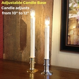 "Window Candle - ""Battery Operated Dual-Intensity Chamberstick Light"" - Nickel Oval Base"